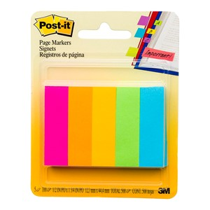 Post-It Page Markers 13x44mm Neon Assorted Colours Pack 5