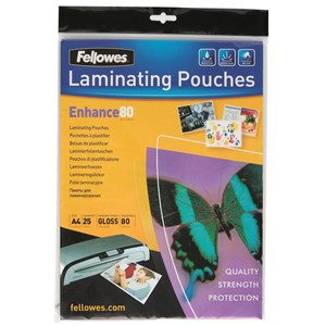Fellowes Laminating Pouch A4 80 Micron Pack 25
