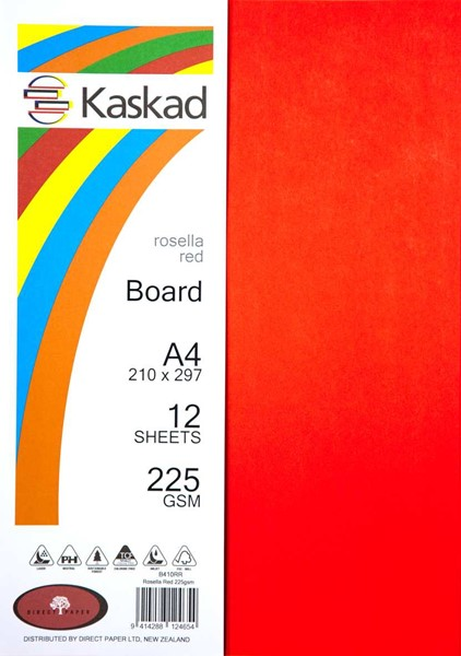 Kaskad Board A4 225gsm Rosella Red Pack 12 - pr_1702646