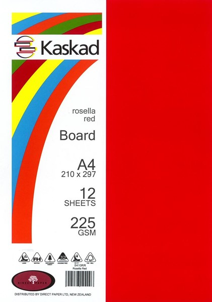 Kaskad Board A4 225gsm Rosella Red Pack 12 - pr_1702635