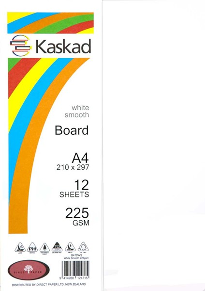 Kaskad Board A4 225gsm White Smooth Pack 12 -