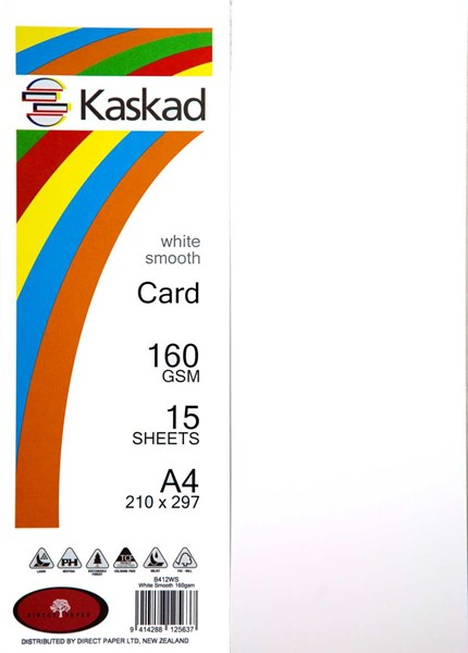 Kaskad Card A4 160gsm White Smooth Pack 15 - pr_400715