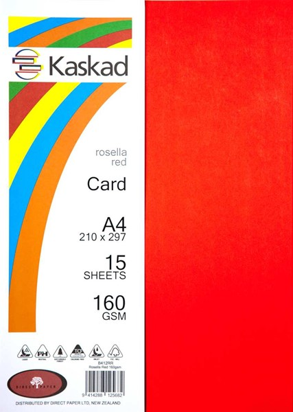 Kaskad Card A4 160gsm Rosella Red Pack 15 - pr_403839
