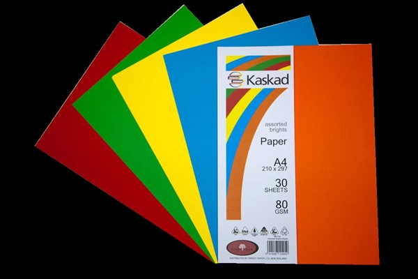 Kaskad Paper A4 80gsm Assorted Brights Pack 30 -