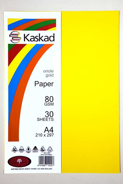 Kaskad Paper A4 80gsm Oriole Gold Pack 30 -