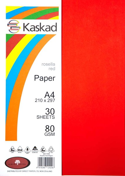 Kaskad Paper A4 80gsm Rosella Red Pack 30 - pr_400718