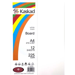 Kaskad Board A4 240gsm White Linen Pack 12