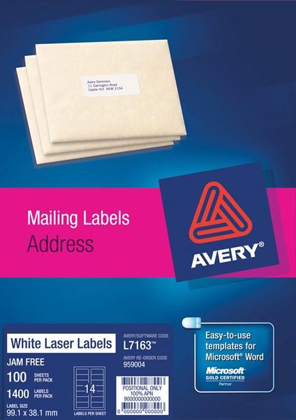 Avery Laser Label Address L7163 99.1x38.1mm 100 Sheets - pr_400725