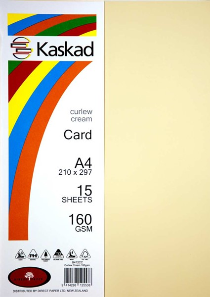 Kaskad Card A4 160gsm Curlew Cream Pack 15 -