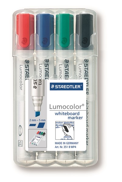 Staedtler Lumocolour Whiteboard Marker Chisel Tip Pack 4 -