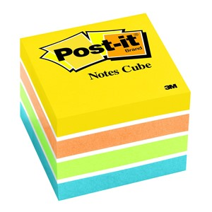 3M Post-It Notes Mini Cube 2051-OCW 48x48mm Neon 400 Sheets