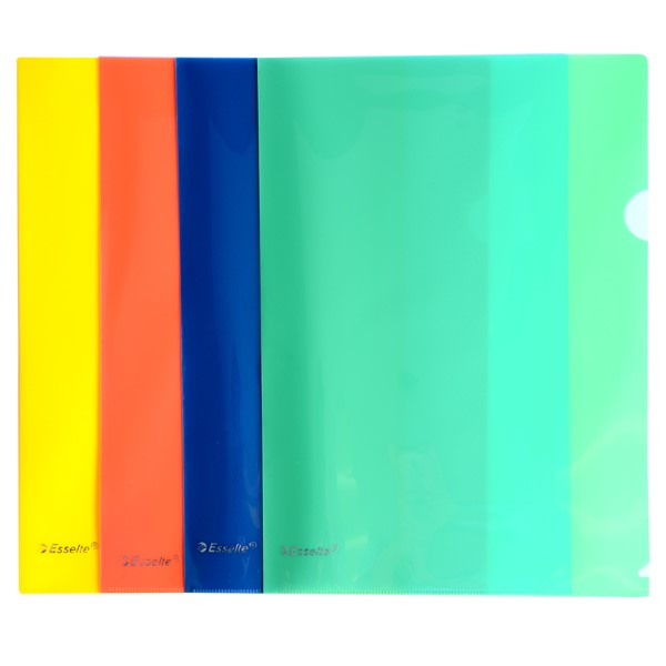 Esselte L-Shaped Pockets Heavy Duty A4 Assorted, Pack of 12 -
