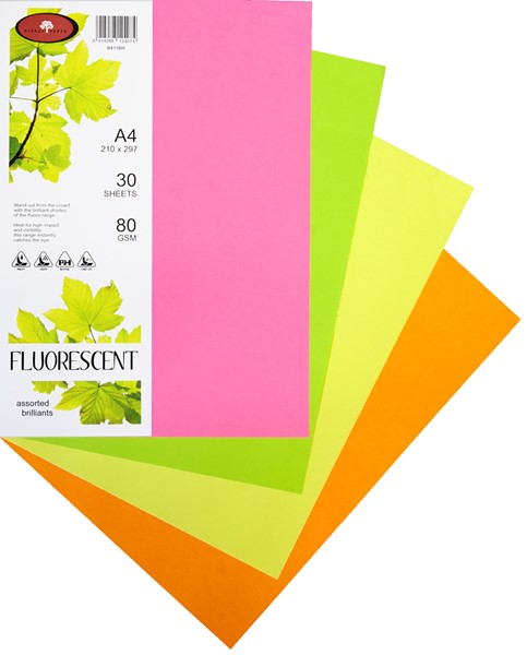 Kaskad Paper A4 80gsm Assorted Brilliants Pack 30 -