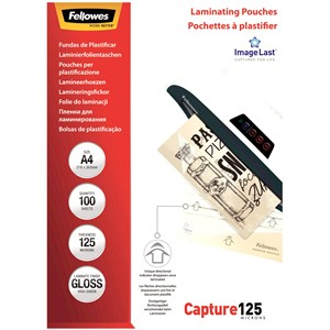 Fellowes Laminating Pouches A4 Gloss 125 Micron Pack 100