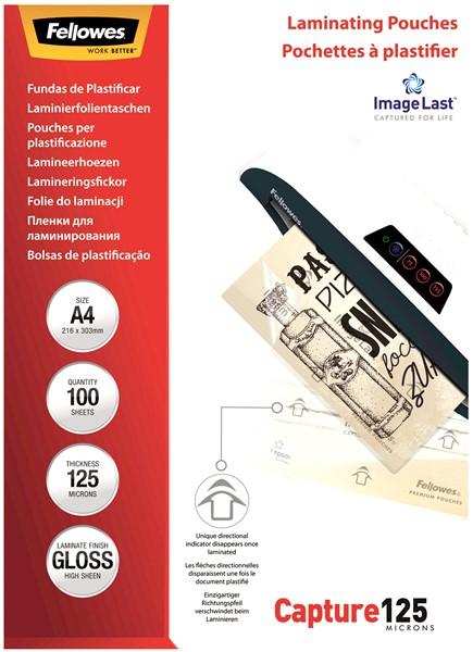 Fellowes Laminating Pouches A4 Gloss 125 Micron Pack 100 - pr_1721325