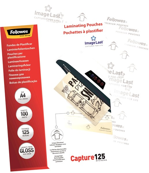 Fellowes Laminating Pouches A4 Gloss 125 Micron Pack 100 - pr_1721324