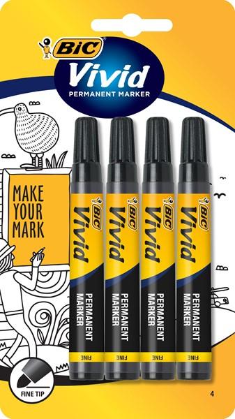 Bic Marker Permanent Vivid Fine Black Pack 4 - pr_400836