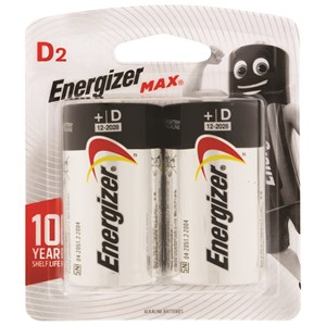 Energizer Battery Max D Pack 2