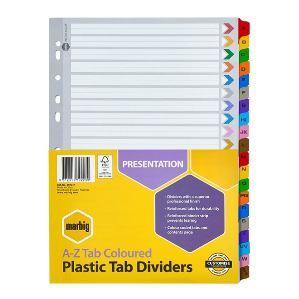 Marbig Dividers Reinforced A4 A-Z Tab Multi-Coloured - pr_1702668
