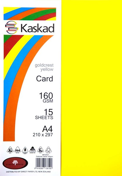 Kaskad Card A4 160gsm Gold Crest Yellow Pack 15 - pr_1702024