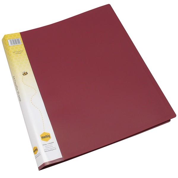 Marbig Display Book Insert Spine A4 20 Pockets Burgundy -