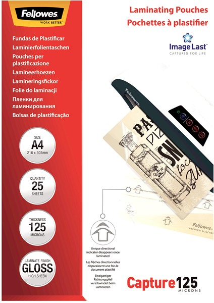 Fellowes Laminating Pouches A4 Gloss 125 Micron Pack 25 -