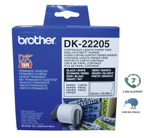 Brother DK Label Continuous Paper DK22205 62mm X 30.48m White - pr_401230