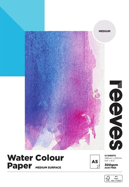 Reeves Watercolour Pad 300gsm A5 Cold Pressed 12 Sheets -