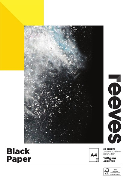 Reeves Black Pad 140gsm A4 20 Sheets -