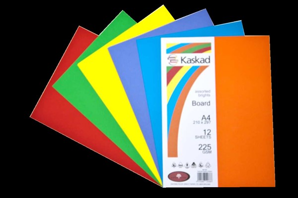 Kaskad Board A4 225gsm Assorted Brights Pack 12 -
