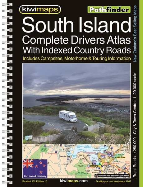 Pathfinder South Island Complete Drivers Atlas With Indexed Country Roads A4 Map Book -