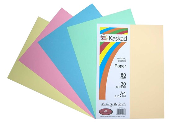 Kaskad Paper A4 80gsm Assorted Pastels Pack 30 -
