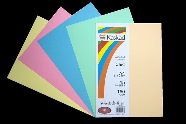 Kaskad Card A4 160gsm Assorted Pastels Pack 15 - pr_401290
