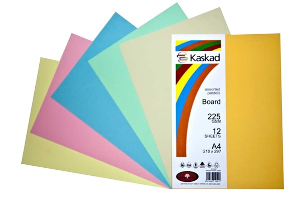 Kaskad Board A4 225gsm Assorted Pastels Pack 12 - pr_1702049