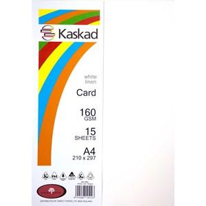 Kaskad Card A4 160gsm White Linen Pack 15