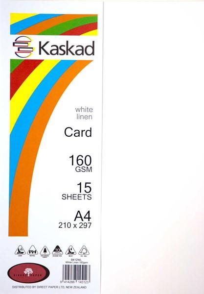 Kaskad Card A4 160gsm White Linen Pack 15 -