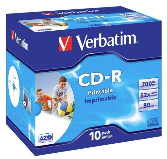 Verbatim CD-R 700MB 52x White Printable 10 Pack with Jewel Cases -