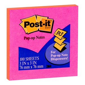 Post-It Pop-Up Notes 76x76mm Assorted Colours