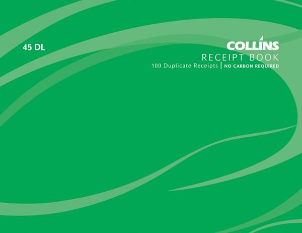 Collins Cash Receipt Book 45 DL Duplicate 100 Pages -