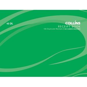 Collins Cash Receipt Book 45 DL Duplicate 100 Pages