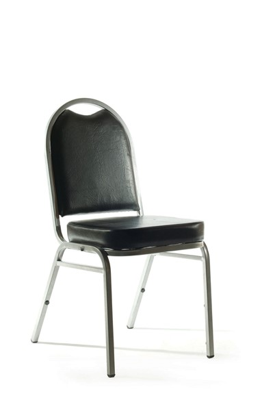 Knight Klub Stackable Guest Chair Black Vinyl Assembled -
