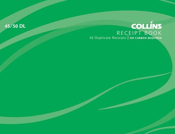 Collins Cash Receipt Book 45/50 DL Duplicate 50 Pages -