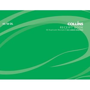 Collins Cash Receipt Book 45/50 DL Duplicate 50 Pages