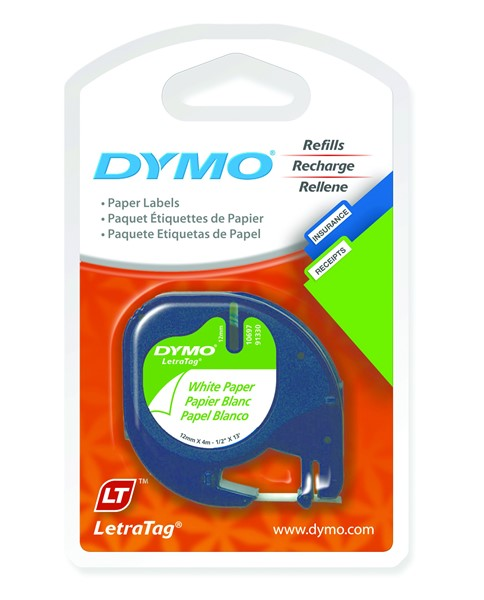 Dymo Letratag Paper Label Cassette 12mmx4m Pearl White Pack 2 -