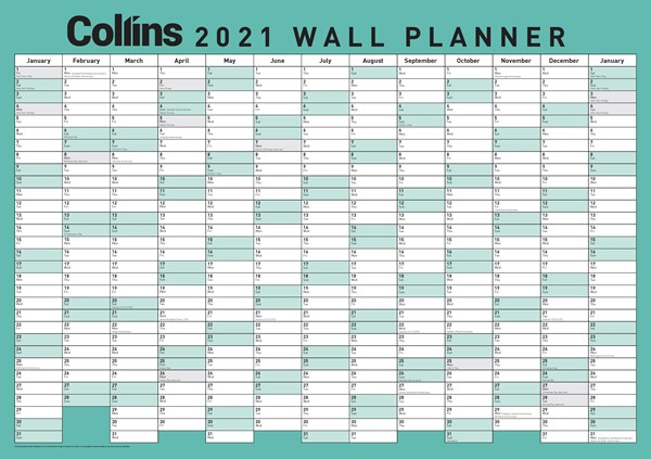 Collins A2 Laminated 2021 Wallplanner -