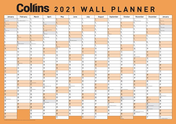 Collins A3 Laminated 2021 Wallplanner -