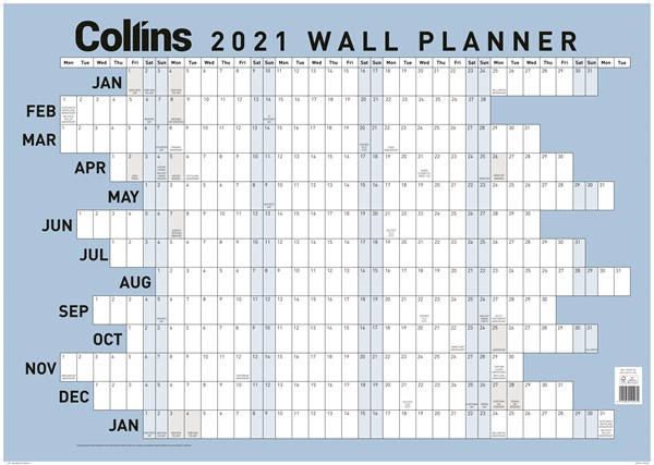 Collins Large Laminated 2021 Wallplanner -