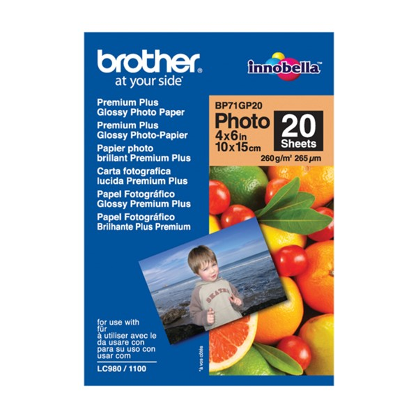 Brother BP71GP20 6x4 Premium Glossy Photo Paper 260GSM 20 Sheets -