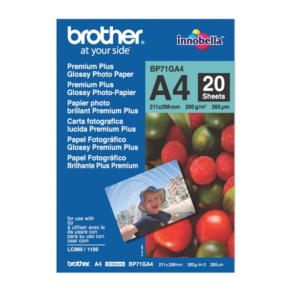 Brother BP71GA4 A4 Premium Glossy Photo Paper 260GSM 20 Sheets -