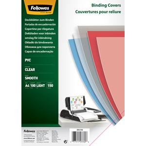 Fellowes Binding Covers Clear A4 150mic Pack 100